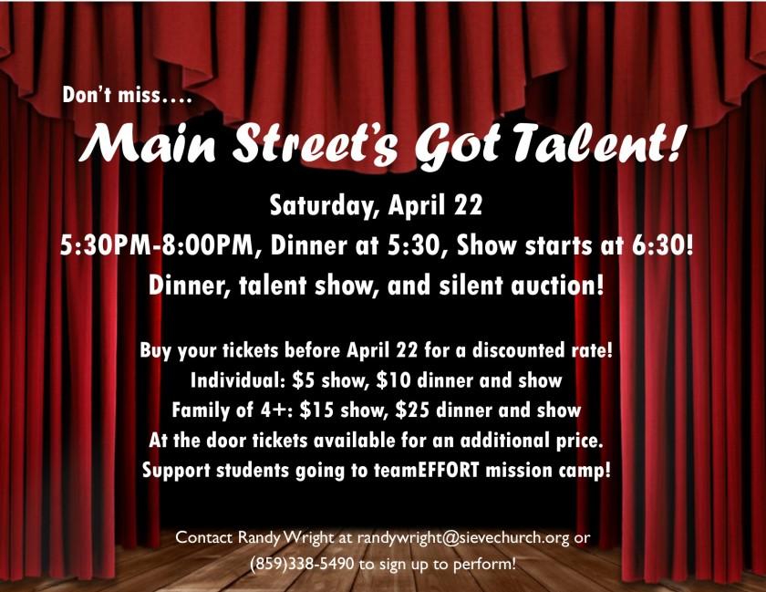 Main Street's Got Talent Flyer